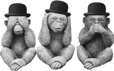 Three wise business monkeys